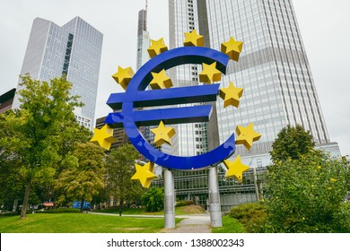 FRANKFURT, GERMANY - OCTOBER 06, 2016: Euro sign outside the European Central Bank (ECB).