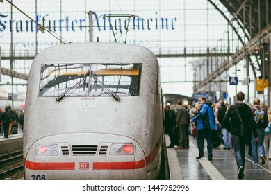 FRANKFURT, GERMANY - OCTOBER 06, 2016: ICE train in Frankfurt Central station. It's one of the most important and busiest railway stations in Germany