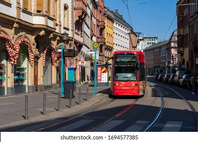 FRANKFURT, GERMANY - OCTOBER 06, 2016: Tramway in Frankfurt, Germany. The tram network is integrated into the Frankfurt U-Bahn system