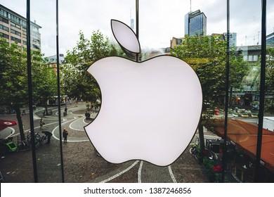 FRANKFURT, GERMANY - OCTOBER 07, 2016: Apple Store logo, view from inside in Frankfurt