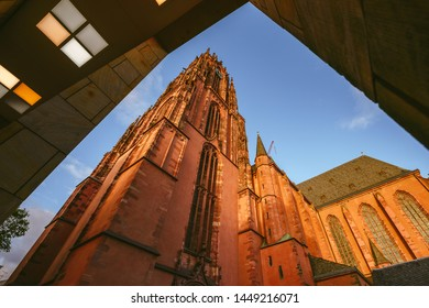 FRANKFURT, GERMANY - OCTOBER 07, 2016: Frankfurter Dom Cathedral in Roemerberg Frankfurt am Main, Germany