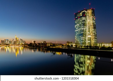 Frankfurt, Germany, October 10th. 2018 - Frankfurt European Central Bank Tower, river Main and skyline at night