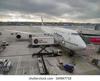 Frankfurt, Germany - October 13, 2013: Boeing 747-8 at the gates. Terminal 1 at Frankfurt airport