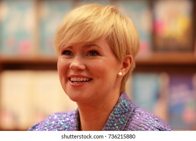Frankfurt, Germany October 14, 2017: Cecelia Ahern, an Irish novelist, looks on at the book fair