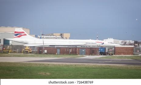 Frankfurt, Germany - October 17 2014: A British Airways Concorde on Frankfurt airport's runway.