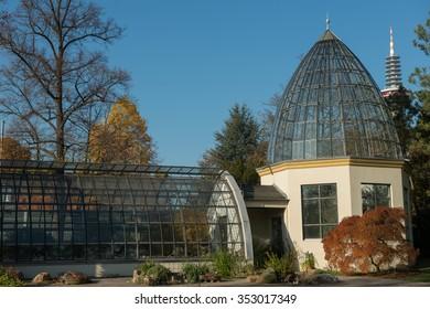 FRANKFURT, GERMANY - October 25, 5015: A glass greenhouse in Palmengarten in autumn