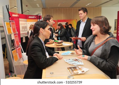 Frankfurt, Germany - October 26, 2010 - Young people at job fair in Germany