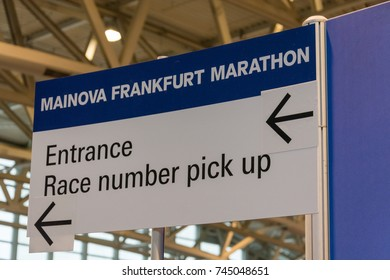 FRANKFURT, GERMANY - October 28, 2017: Frankfurt marathon race number pick up sign close up
