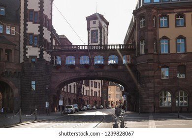 Frankfurt Germany, Old city streets, sunny day, old buildings
