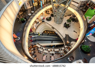 Frankfurt, Germany on 26th July 2017: MyZeil is a shopping mall in Frankfurt.  It is part of the Palais Quartier development, with its main entrance on the Zeil, Frankfurt's main shopping street