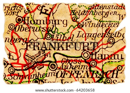 Frankfurt Germany On Old Torn Map Stock Photo (Edit Now) 64203658 ...