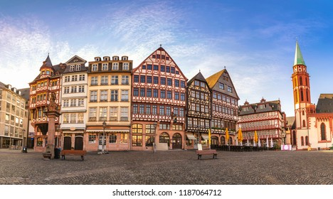 Frankfurt Germany, panorama sunrise city skyline at Romer Town Square