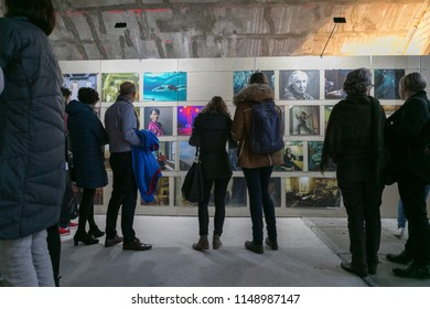 Frankfurt, Germany - Saturday, October 22, 2016 - People viewing Annie Leibovitz exhibition.
