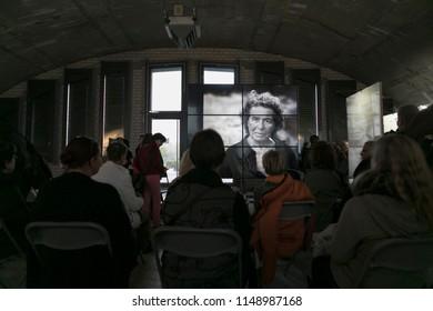 Frankfurt, Germany - Saturday, October 22, 2016 - People viewing Annie Leibovitz exhibition.