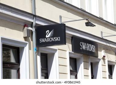 FRANKFURT, GERMANY- SEP 10, 2016: Swarovski logo. Swarovski is an Austrian company.