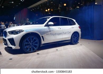 FRANKFURT, GERMANY - SEP 10, 2019: BMW i Hydrogen Next Fuel-Cell Concept preview of the 2021 X5 M showcased at the Frankfurt IAA Vehicles Motor Show.