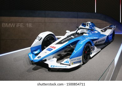FRANKFURT, GERMANY - SEP 10, 2019: BMW iFE.18 Formel E car showcased at the Frankfurt IAA Vehicles Motor Show.