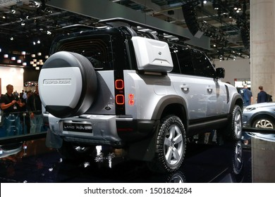 FRANKFURT, GERMANY - SEP 10, 2019: Land Rover Defender showcased at the Frankfurt IAA Vehicles Motor Show.