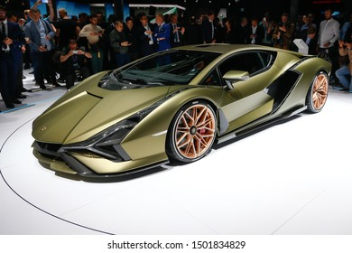 FRANKFURT, GERMANY - SEP 10, 2019: Lamborghini Sián FKP 37 hybrid sportscar showcased at the Frankfurt IAA Vehicles Motor Show.