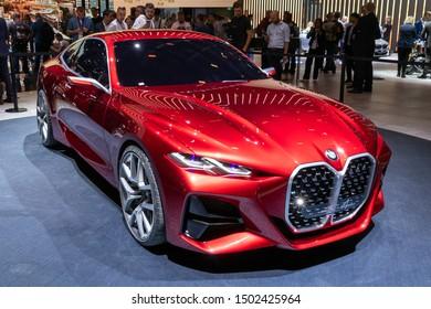 FRANKFURT, GERMANY - SEP 10, 2019: BMW Concept 4 Coupe car reveiled at the Frankfurt IAA Motor Show 2019.