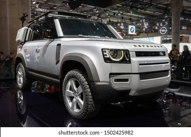 FRANKFURT, GERMANY - SEP 10, 2019: New 2020 Land Rover Defender car presented at the Frankfurt IAA Motor Show 2019.