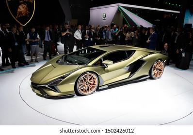FRANKFURT, GERMANY - SEP 10, 2019: Lamborghini Sian FKP 37 sports car unveiled at the Frankfurt IAA Motor Show 2019.