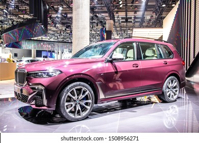 Frankfurt, Germany, Sep 10, 2019: all new BMW X7 production car at IAA, G07 2020 model year SUV manufactured and marketed by BMW
