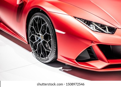 Frankfurt, Germany, Sep 10, 2019: metallic red Lamborghini Huracan Evo Spyder at IAA, 2020 model year supercar manufactured by Italian Lamborghini