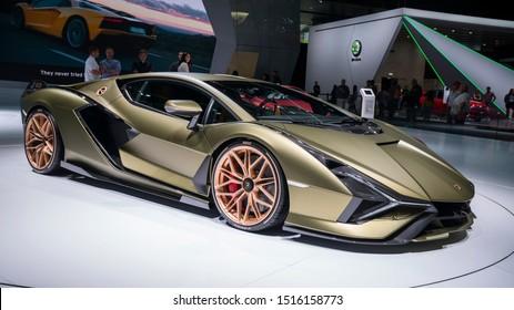 Frankfurt, Germany, Sep 10, 2019: Lamborghini Sian FKP 37 at IAA, 2020 model year first supercapacitor-based hybrid V12 by Automobili Lamborghini