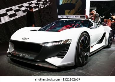 FRANKFURT, GERMANY - SEP 10, 2019: Audi PB 18 e-tron electric supercar concept showcased at the Frankfurt IAA Motor Show 2019.
