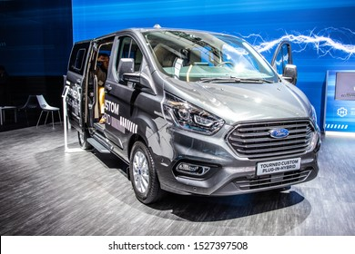 Frankfurt, Germany, Sep 10, 2019: Ford Tourneo Custom Plug-In-Hybrid at IAA, PIH mid-sized, front wheel drive passenger version van produced by Ford