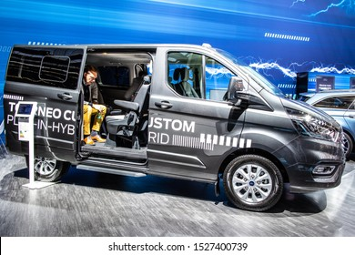 Frankfurt, Germany, Sep 10, 2019: Ford Tourneo Custom Plug-In-Hybrid Facelift at IAA, PIH mid-sized, front wheel drive passenger version van produced by Ford