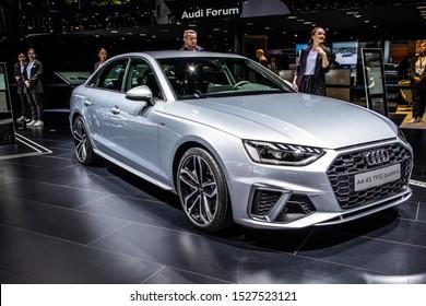 Frankfurt, Germany, Sep 10, 2019: metallic silver new Audi A4 45 TFSI quattro Berline, Sedan, Limousine at IAA, Fifth generation, B9, Typ 8W, car produced by Audi AG