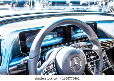 Frankfurt, Germany, Sep 10, 2019: production car: all new electric Mercedes-Benz EQC 400 4Matic 300kW SUV, 2019 model year, EQ brand at IAA, produced by Mercedes Benz