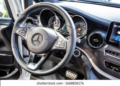 Frankfurt, Germany, Sep 10, 2019: Show car: Mercedes-Benz EQV concept prototype MPV at IAA, electric V-Class prototype VAN of future car created by Mercedes Benz,