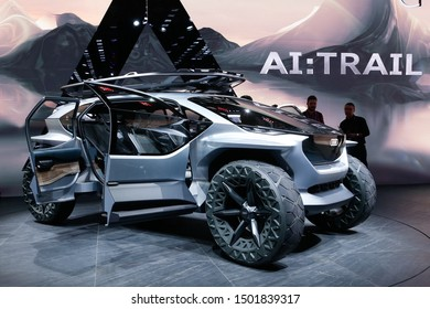 FRANKFURT, GERMANY - SEP 11, 2019: Audi AI:Trail Concept showcased at the Frankfurt IAA Vehicles Motor Show.