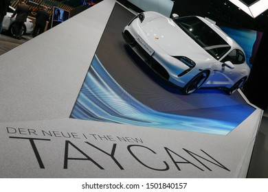 FRANKFURT, GERMANY - SEP 11, 2019: Porsche Taycan electric sportscar showcased at the Frankfurt IAA Vehicles Motor Show.