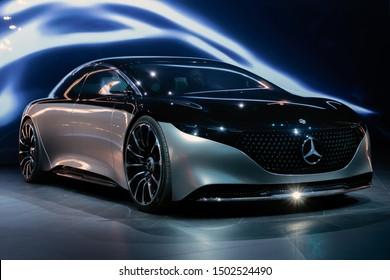 FRANKFURT, GERMANY - SEP 11, 2019: Mercedes-Benz Vision EQS luxury electric concept car reveiled at the Frankfurt IAA Motor Show 2019.