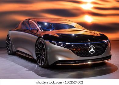 FRANKFURT, GERMANY - SEP 11, 2019: Mercedes Benz Vision EQS luxury electric concept car reveiled at the Frankfurt IAA Motor Show 2019.