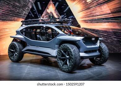 FRANKFURT, GERMANY - SEP 11, 2019: Audi AI TRAIL all electric offroad concept car reveiled at the Frankfurt IAA Motor Show 2019.