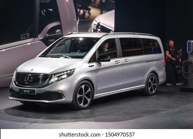 FRANKFURT, GERMANY - SEP 11, 2019: Mercedes Benz EQV 300 showcased at the Frankfurt IAA Vehicles Motor Show.