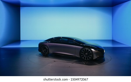 FRANKFURT, GERMANY - SEP 11, 2019: Mercedes Benz Vision EQS world premiere showcased at the Frankfurt IAA Vehicles Motor Show.