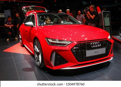 FRANKFURT, GERMANY - SEP 11, 2019: Audi RS6 showcased at the Frankfurt IAA Vehicles Motor Show.