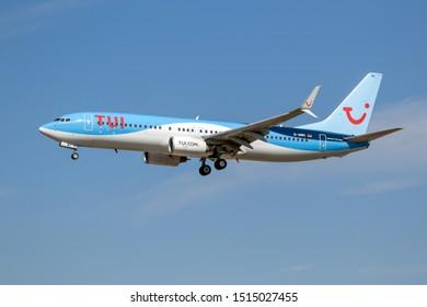 FRANKFURT, GERMANY - SEP 11, 2019: TUI Airways Boeing 737 passenger airplane landing on Frankfurt Airport.
