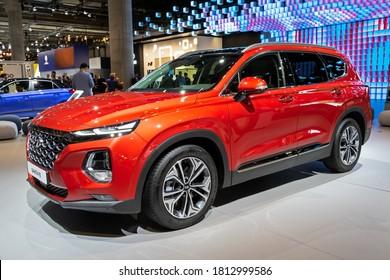 FRANKFURT, GERMANY - SEP 11, 2019: New 2020 Hyundai Santa Fe car showcased at the Frankfurt IAA Motor Show 2019.