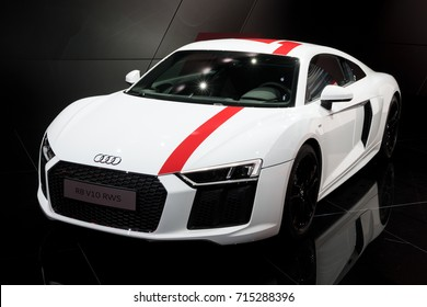 FRANKFURT, GERMANY - SEP 12, 2017: Audi R8 V10 RWS sports car showcased at the Frankfurt IAA Motor Show 2017. This R8 is a limited edition rear-wheel drive sports car.