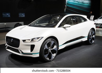 FRANKFURT, GERMANY - SEP 12, 2017: New 2018 Jaguar I-Pace concept electric SUV car showcased at the Frankfurt IAA Motor Show 2017.