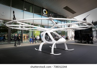 FRANKFURT, GERMANY - SEP 12, 2017: Volocopter aircraft presented at the Frankfurt IAA Motor Show 2017. Volocopter is the the first manned, fully electric VTOL in the world.