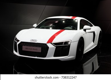 FRANKFURT, GERMANY - SEP 12, 2017: New Audi R8 V10 RWS sports car showcased at the Frankfurt IAA Motor Show 2017. This R8 is a limited edition rear-wheel drive sports car.