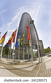FRANKFURT, GERMANY - SEP 12: flags at Messeturm on Sep 12, 2009 in Frankfurt, Germany. - Fair Tower of Frankfurt, Germany. The tower was in 1990 Europes tallest building with 257 m (843 ft).